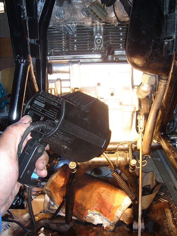 エンジン後部の塗装の乾燥中
