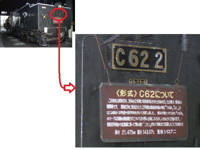 C62形機関車テンダー形式表記