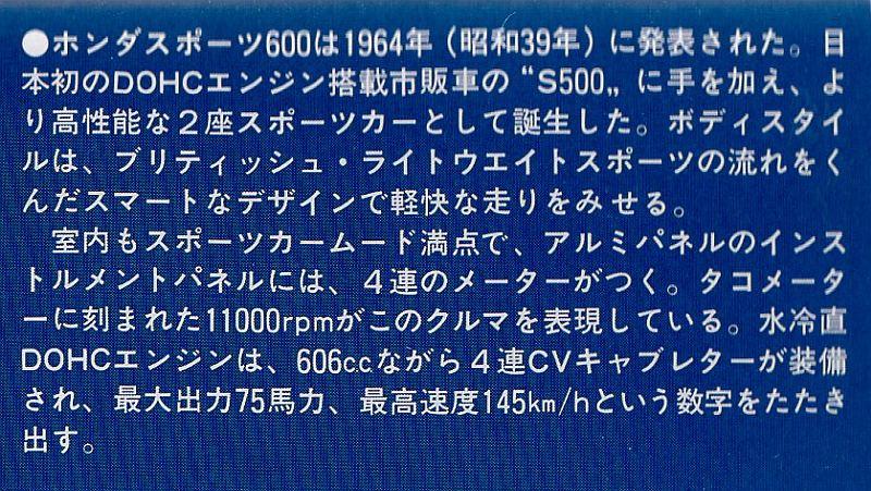アリイ 1/32 ホンダ S600 解説