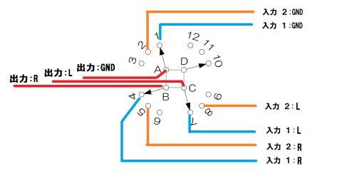 ミニプラグ切替器:ロータリースイッチ配線