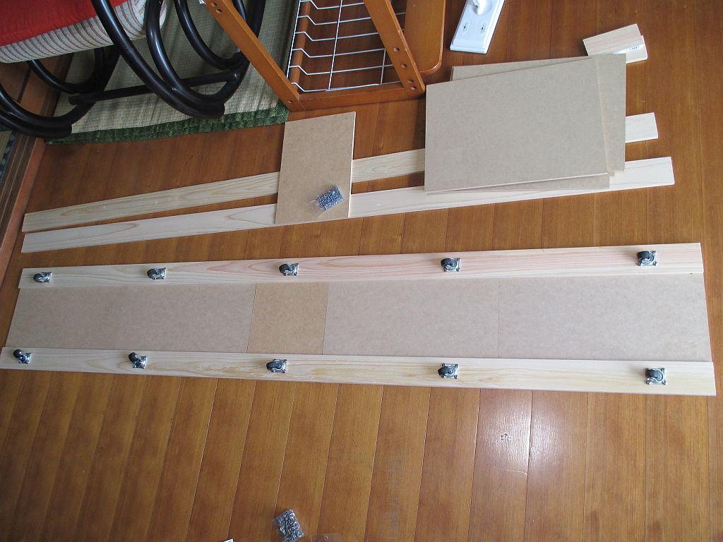 Nゲージレイアウト台枠メイン部・1階ベース板にキャスター取り付け