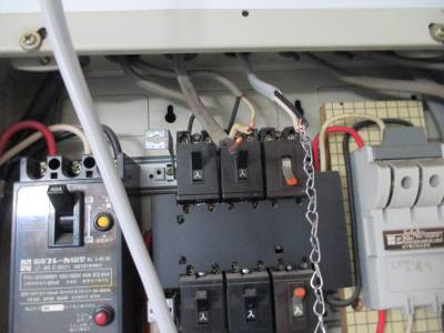 エアコン用電気工事 分電盤結線