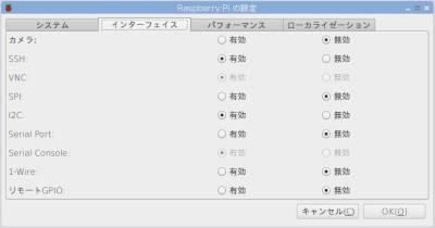 「Raspberry Piの設定」画面
