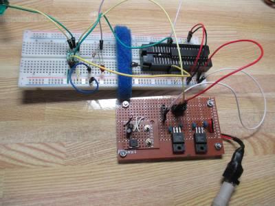 電源回路を作ってI2C通信のテスト中