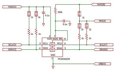 PCA9306を使用した電圧レベル変換モジュール