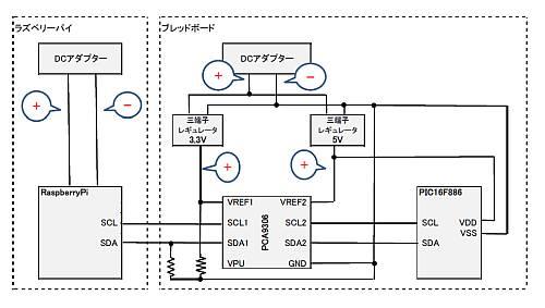 PCA9306を使用した電圧レベル変換モジュールをブレッドボードで確認中の回路(プルダウン抵抗追加)