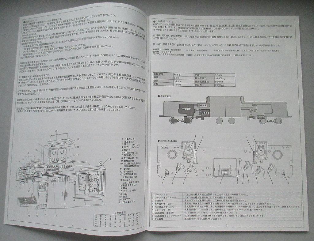 アオシマ 1/45 DD51 更新色 組み立て説明書