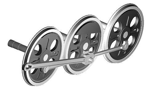 主連棒、連結棒と動輪